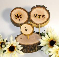 Rustic Wood Wedding Cake Topper Fall Decoration Tree Slice Mr Mrs