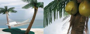 Palm Tree Hammock Stand with Cooling Mist Sprayers & Coconuts