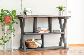 DIY Rustic X Leg Console Table That Is Easy And Quick To Build With The Free Plans This Entryway Shelves Made Using Structural Lumber So