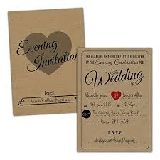 Brown Kraft Wedding Evening Invitations VINTAGE RUSTIC FREE KRAFT ENVELOPES 20 A6 Card
