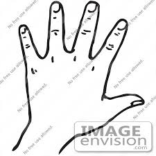 Clipart A Hand In Black And White Royalty Free Vector Illustration by