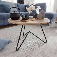 couchtisch 60x39 5x60 cm akazie massivholz metall sofatisch design wohnzimmertisch rund kaffeetisch massiv kleiner tisch wohnzimmer