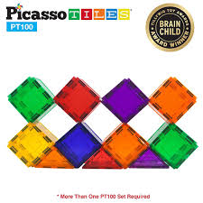 Picasso Tiles Magnetic Building Blocks by Picasso Tiles 100 Piece Set Toytico