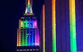 Empire State Building Rainbow Lights ❤ 4K HD Desktop Wallpaper