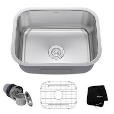 Kraus Faucets Home Depot by Kraus Undermount Stainless Steel 23 In Single Basin Kitchen Sink