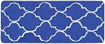 lonior badematte rutschfester badteppich maschine waschbar badvorleger anthrazit hochflor mikrofaser badezimmer teppiche blau 120x45cm