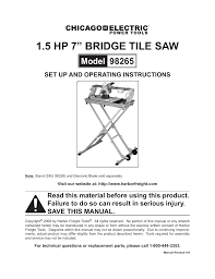 harbor freight tile saw manual chicago electric 1 5hp 7 bridge tile saw 98265 user manual 21 pages