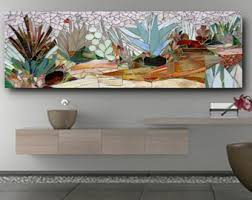 SUCCULENT GARDEN MOSAIC Wall Art Made To Order Patio Decor Mosaic Stained