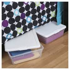 sterilite clear plastic under bed storage bin clear with white