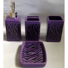 22pc bath accessories set purple zebra animal print bathroom rugs