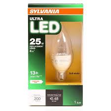 sylvania ultra led 4w b10 dimmable soft white candelabra base bulb