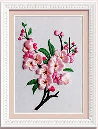 Ribbon Embroidery Kit Handmade Flower Design For Beginner DIY Wall Decor Peach BlossomNo Frame