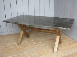 Chunky Rustic X Frame Table Made From Reclaimed Pine With A Industrial Natural Zinc Top Bespoke