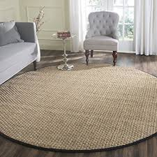 Safavieh Natural Fiber Collection NF114C Basketweave And Black Summer Seagrass Round Area Rug 6