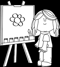 Girl Painting On Easel Clip Art Black And White
