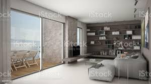moderne wohnzimmer offener raum mit sofa und regale große panoramafenster mit terrasse stockfoto und mehr bilder 1980 1989