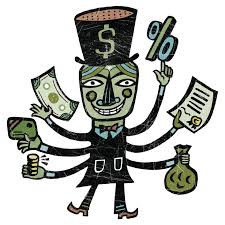 a man with top hat and six arms holding various types of money f9b ae3b7b2
