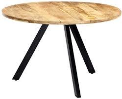 vidaxl mangoholz massiv esstisch vintage esszimmertisch holztisch küchentisch speisetisch massivholztisch tisch esszimmer küche rund 120x76cm eisen