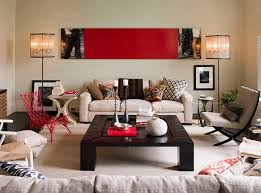 view in gallery contemporary living room with smart use of red