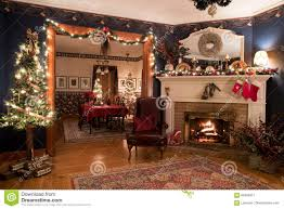 A Christmas Victorian Home Interior Living Room With Fireplace Trees In Both Dining Background