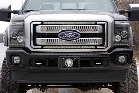 30in Single Row LED Light Bar Hidden Grille Kit For 11-16 Ford Super ...
