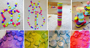 Painted Plastic Bottle Caps Craft Tutorial For Kids