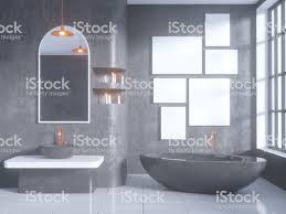 graue badezimmer interieur mit einem betonboden einer badewanne einem doppelwaschbecken 3dillustration mockup stockfoto und mehr bilder