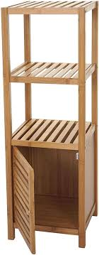 mendler badregal hwc b18 badezimmer badschrank standregal mit tür bambus 110x36x34cm