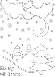Click To See Printable Version Of Merry Christmas Card With Winter Landscape Coloring Page