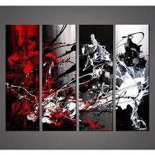 Absolutely Ideas Black White And Red Wall Art With Modern Painting Intended For