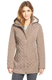 calvin klein hooded quilted packable down puffer coat in gray lyst