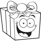 Cartoon Gift Black and White Line Art Cartoon Grandma Birthday Present