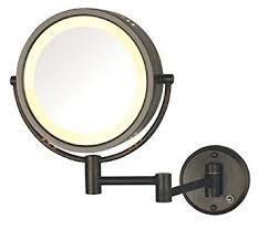 jerdon wired two sided lighted wall mount mirror