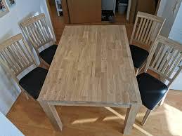 esszimmer tisch 4 stühle eiche weiss geölt wie neu