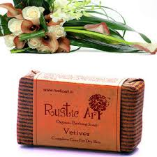 Rustic Art Organic Vetiver Soap Bathing Bar Chemical Free Anti Ageing