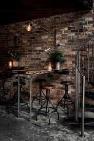 Bar Dark Bronze Interior With Exposed Brick Wall