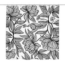 Black And White Flower Shower Curtain by Shower Curtains U2013 Crescent U0026 Clair