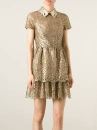 valentino studded collar lace dress in metallic lyst