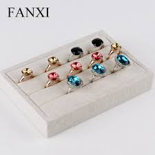 FANXI Free Shipping Modern Engagement Ring Display Tray Collection Custom Beige Jute Holder Stand For