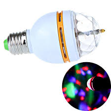 e27 colorful rotating rgb 3w led stage light bulb voice activated