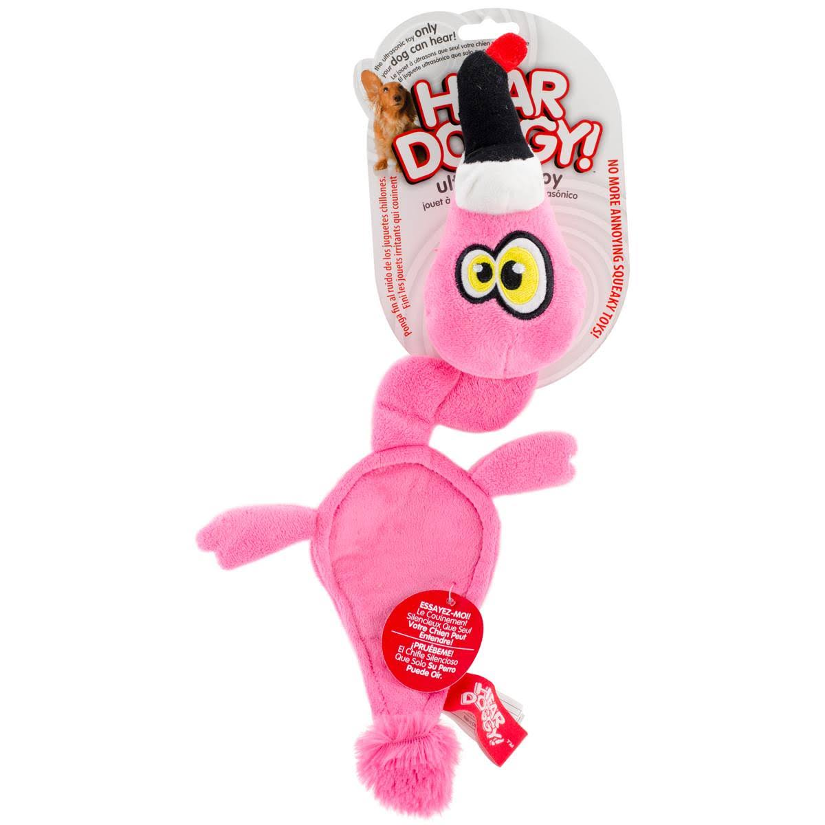 Hear Doggy! Ultrasonic Flattie Dog Toys - Pink Flamingo