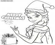 Printable Frozen Elsa Disney Princess Christmas Coloring Pages