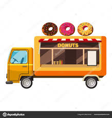 Donut Truck Mobile Snack Icon, Cartoon Style — Stock Vector ...