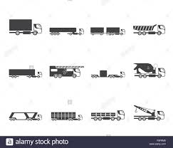 Silhouette Different Types Of Trucks And Lorries Icons - Vector Icon ...