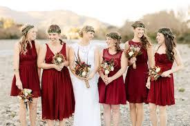 Red Autumn Bridesmaidscarmine Dresses Bridesmaids