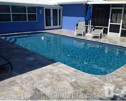 pool deck with silver pattern travertine pavers from united