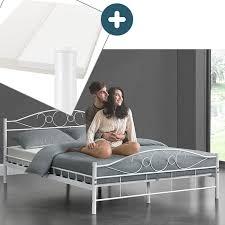 metallbett toskana 140 x 200 cm weiß komplett set mit matratze bett mit lattenrost modern