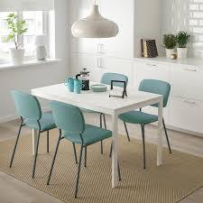 vangsta karljan tisch und 4 stühle weiß türkis 120 180 cm