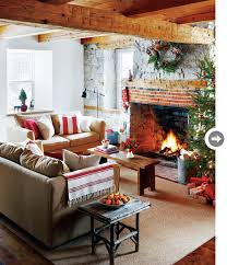 I Adore This Canadiana Christmas Living Room Love The Old Wooden Beams Stone Fireplace Touches Of Red Rustic Fu