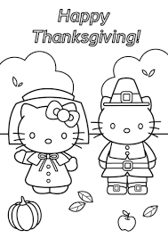 Click To See Printable Version Of Hello Kitty Thanksgiving Coloring Page